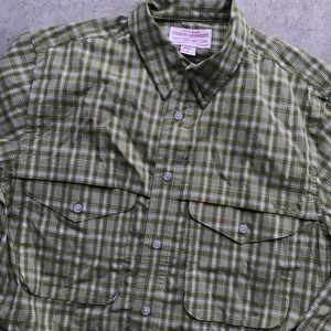 Filson athletic men's fishing shirt plaid green